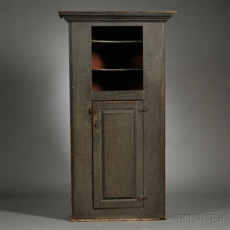 moulded cornice blue green painted cupboard new 18th century