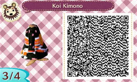 kimono pattern animal crossing animal crossing new leaf black and orange koi kimono qr