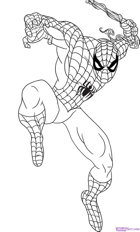 spider man comic coloring page how to draw spiderman step by step marvel characters