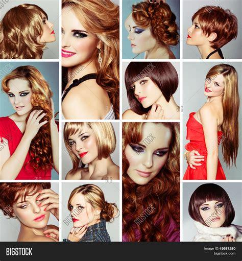 easy hairstyles book imagen y foto collage de la misma mujer joven bigstock