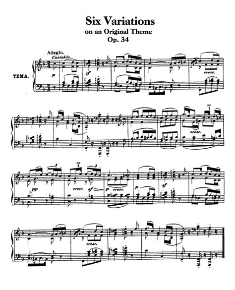 definition theme and variations in music op 34 6 variations on an original theme free sheet music