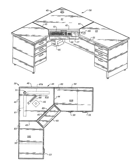 Corner Desk Dimensions Patent Us6953231 Computer Corner Desk With Wire Management Capability Patents