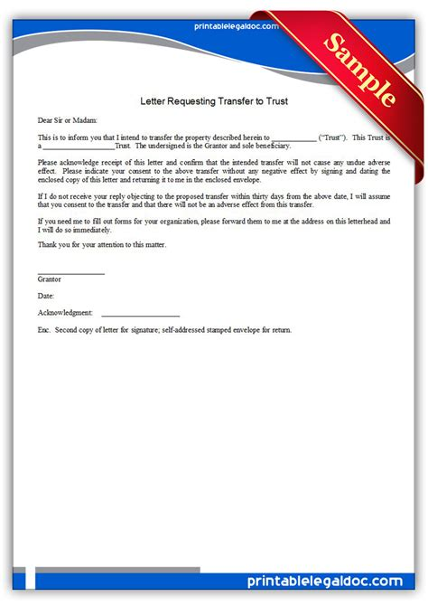 Transfer Request Letter For Child Care free printable letter requesting transfer to trust form