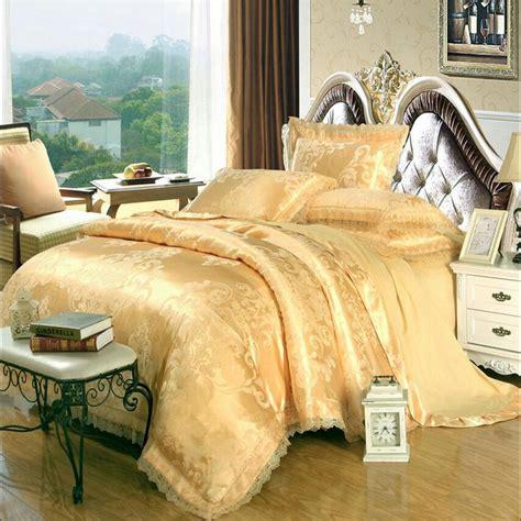 White And Gold Comforter Set by Gold White Blue Jacquard Silk Bedding Set Luxury 4pcs