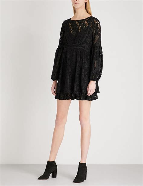 Balloon Sleeved Dresses For Black Tie And Play by Free Ruby Balloon Sleeve Lace Mini Dress In Black