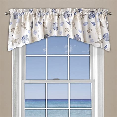 Coral Valance Curtains Seashore Coral Window Curtain Valance In Blue Bed Bath Beyond