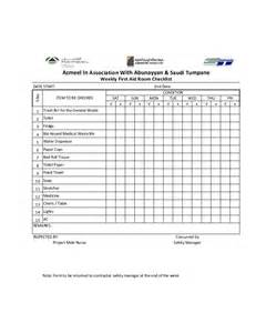 Aid Program Template by Weekly Aid Room Checklist