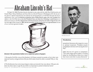 abraham lincoln biography first grade abraham lincoln s hat worksheet education com