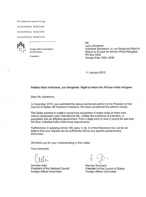 Petition Letter Us Embassy Swiss Federal Assembly Foreign Affairs Committee President Of National Council Andreas Aebi
