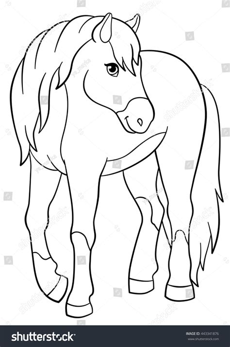 coloring pages of cute horses coloring pages farm animals cute horse stock vector