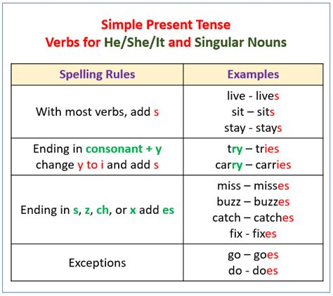 make the patterns of simple present tense verbs present tense with exles videos