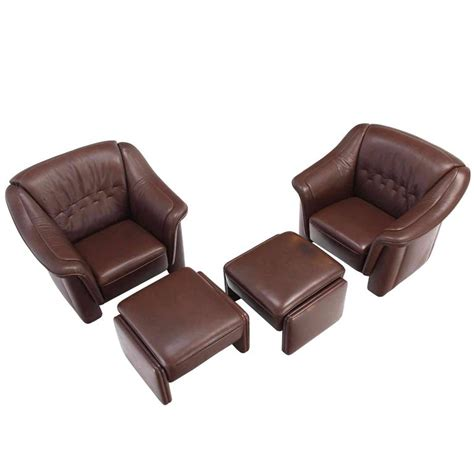 Chairs With Ottomans For Sale Pair Of Brown Leather Lounge Chairs With Ottomans For Sale
