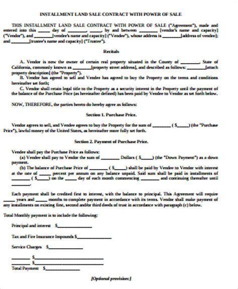 Agreement Letter Of Land Sle Land Contract Agreement 6 Exles In Word Pdf