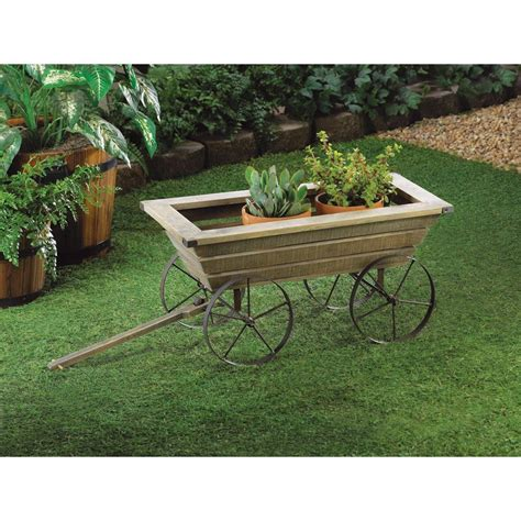 wooden wagon planter rustic wooden wagon garden cart planter box country yard decor ebay