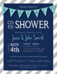 co ed baby shower flags and stripes invitation navy