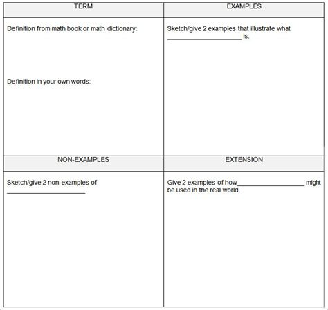 frayer model template 5 frayer model templates free sle exle format
