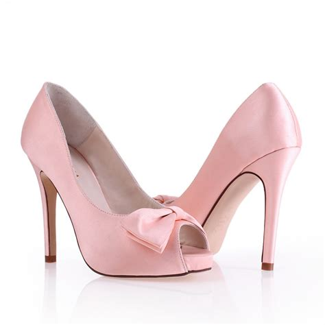 pink high heels shoes high heel peep toes bow pink cheap wedding bridal shoes