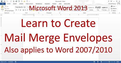 microsoft word mail merge envelope word 2013 2016 youtube