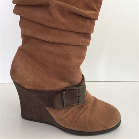 79 dr scholl s shoes suede and leather wedge boots