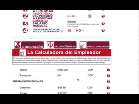 calculadora laboral de mintrabajo calculadora laboral calculadora laboral youtube