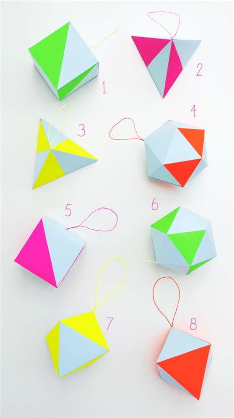 Papercraft Kits - paper craft kit pastel neon geometric decorations