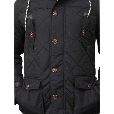 Padded Quilted Jacket by Mens Black Quilted Padded Parka Jacket Brandslock