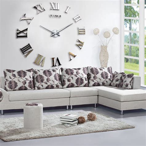 how to decorate a large wall in living room new diy 3d wall clock roman numerals large size mirrors