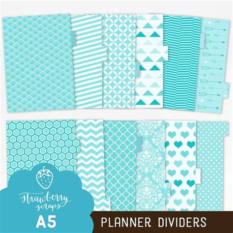 free printable planner dividers a5 planner dividers quot aqua blue quot turquoise planner inserts