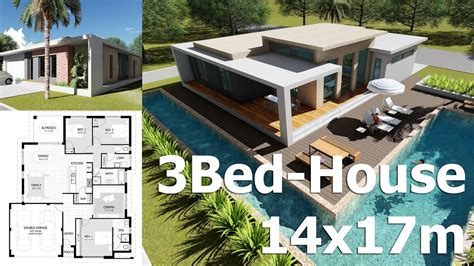 house design sketchup youtube sketchup 3 bedroom exterior house design 14x17m from