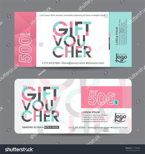 coupon cards template gift voucher template colorful patterncute gift stock
