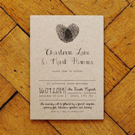 wedding invitation st suite fingerprint and calligraphy wedding invitation suite by