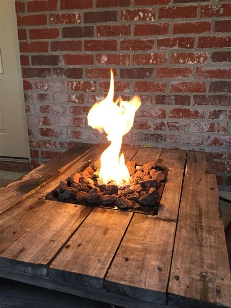 diy firepit table gas pit built into a pallet table pallet projects