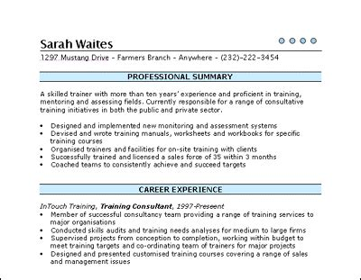 show a layout of a cv training consultant cv template cv template cv