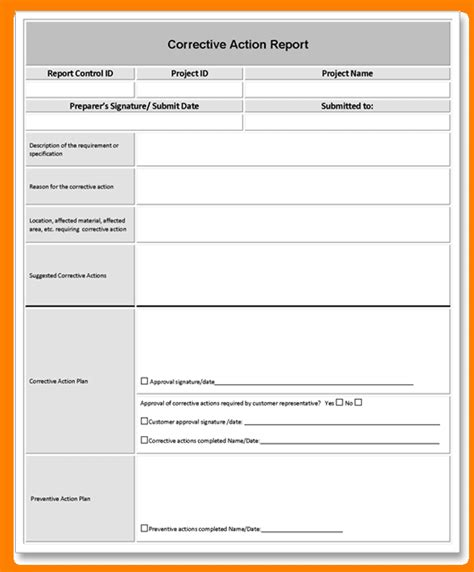 corrective report template form 9 corrective report template free invoice letter