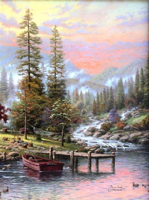1449482910 thomas kinkade peaceful retreat with peaceful retreat g p 18x27 limited edition thomas kinkade