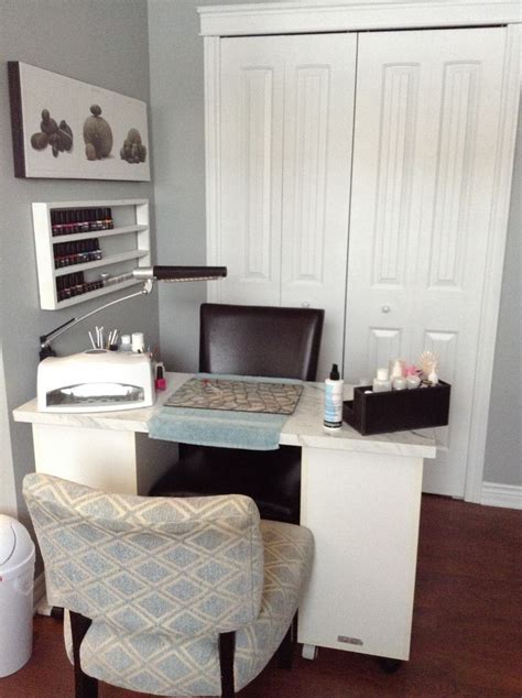 small space home nail salon decorating ideas  set