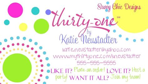 Partylite Business Card Template by Thirty One Business Card Diy Printable Thirty One