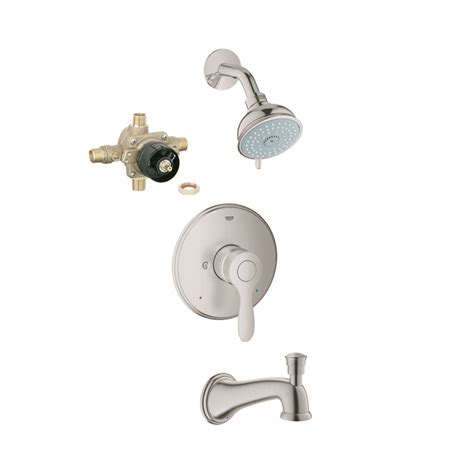 shop grohe concetto brushed nickel 1 handle bathtub and shower faucet with single function shop grohe parkfield brushed nickel 1 handle bathtub and