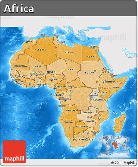 africa map sea free political shades 3d map of africa single color