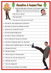 english worksheets merry christmas mr bean qa 1 page