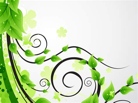 green floral leaves ppt backgrounds 3d flowers nature
