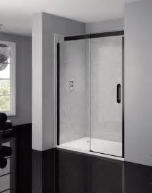 black shower door april prestige frameless 1400mm clear black sliding