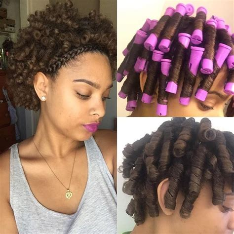 pictures of hair rolled on small rods applied ecostyler gel creme of nature foaming mousse on