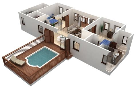 home design 3d blueprints 25 more 3 bedroom 3d floor plans simple free house plan