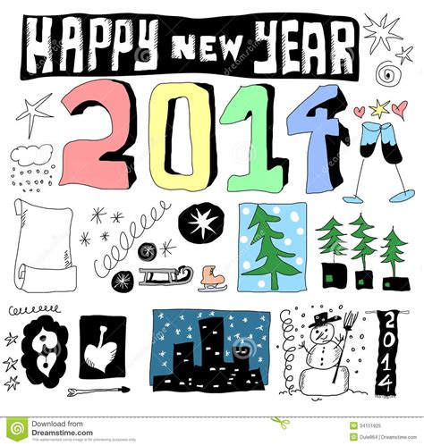 new doodle doodle happy new year 2014 royalty free stock photo