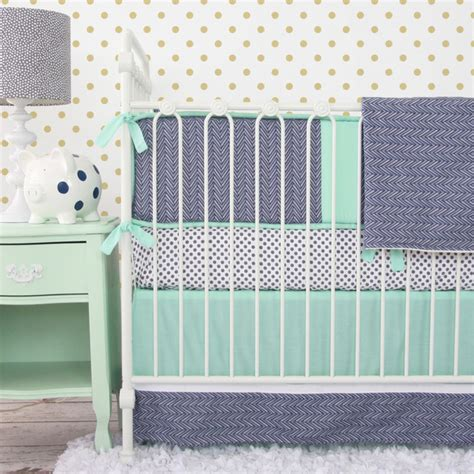 Mint And Navy Chevron Crib Bedding Transitional Baby Mint Green Crib Bedding
