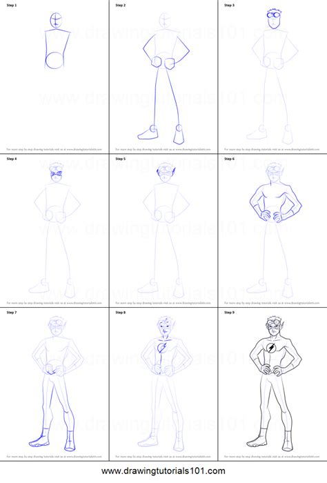 tutorial flash young 2 how to draw kid flash from young justice printable step by