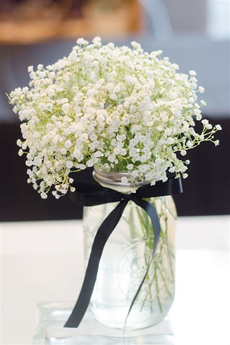 babys breath  mason jar centerpiece