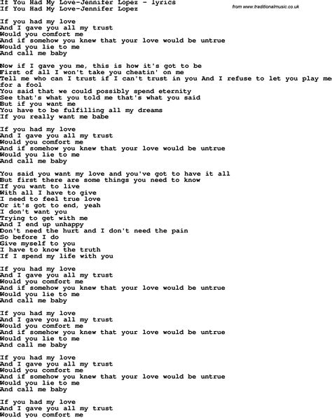 jennifer lopez if you had my love lyrics love song lyrics for if you had my love jennifer lopez
