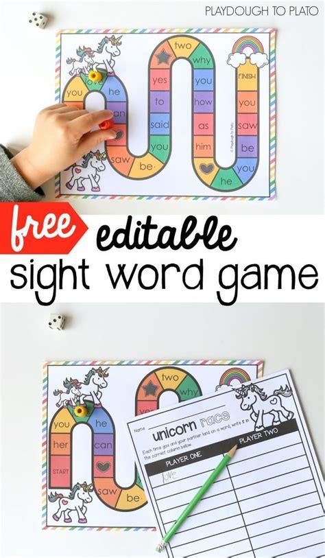 printable sight word games for preschoolers unicorn sight word game word work activities word games